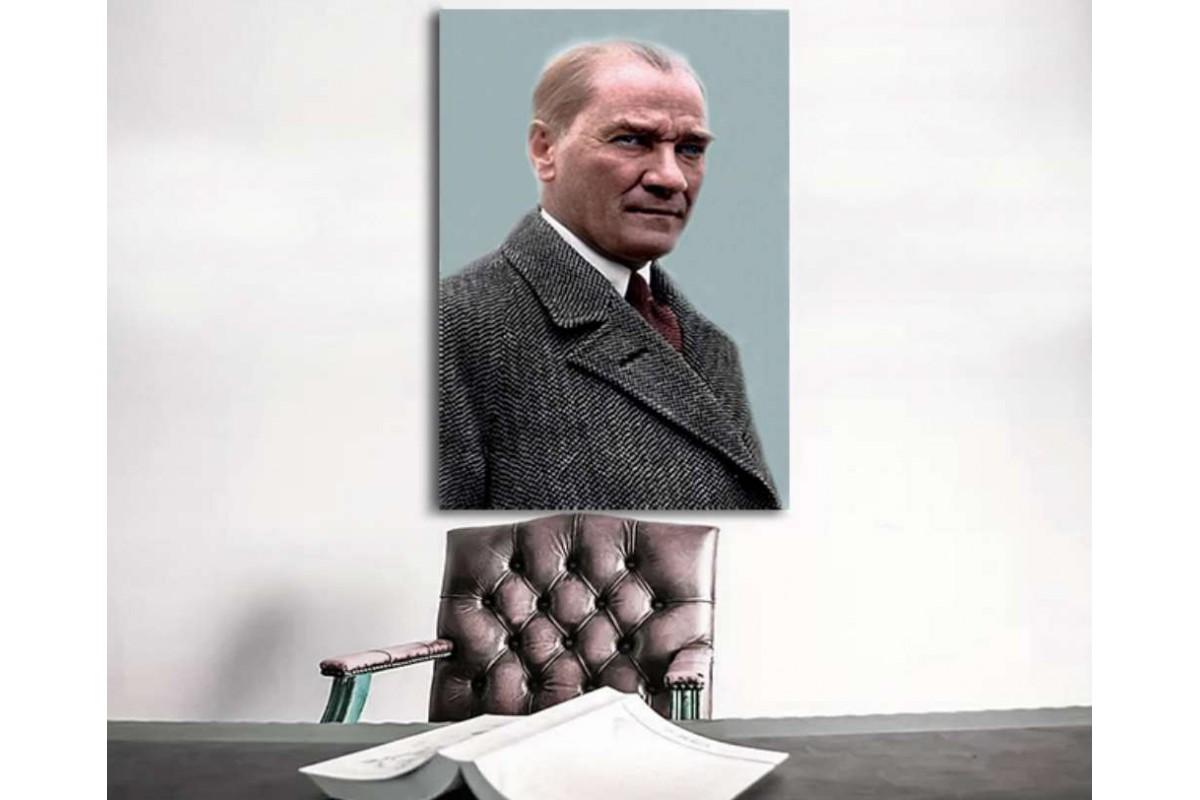 skra38 - Ulu Önder Mustafa Kemal Atatürk Renkli Kanvas Tablo