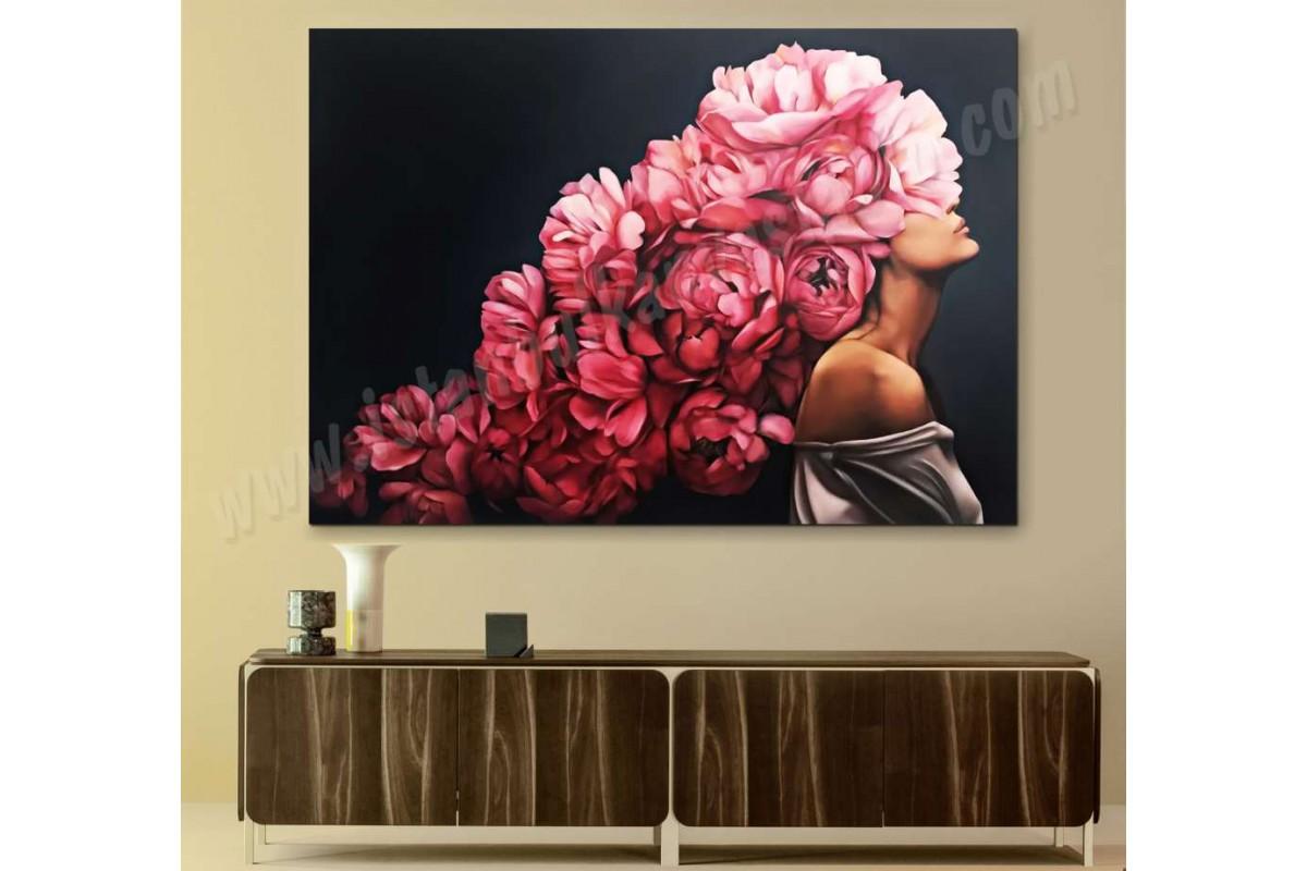 skrd59 - Pembe Çiçek Saçlı Kadın Dekoratif Kanvas Tablo