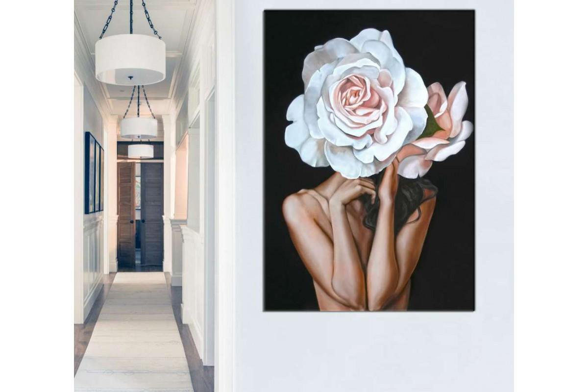 skrd60 - Beyaz Gül Kafalı Kadın Dekoratif Kanvas Tablo