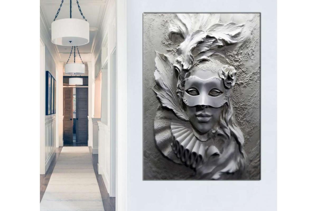 skrd61 - Maskeli Kadın Kabartma Görünümlü 3 boyut efektli Dekoratif Kanvas Tablo