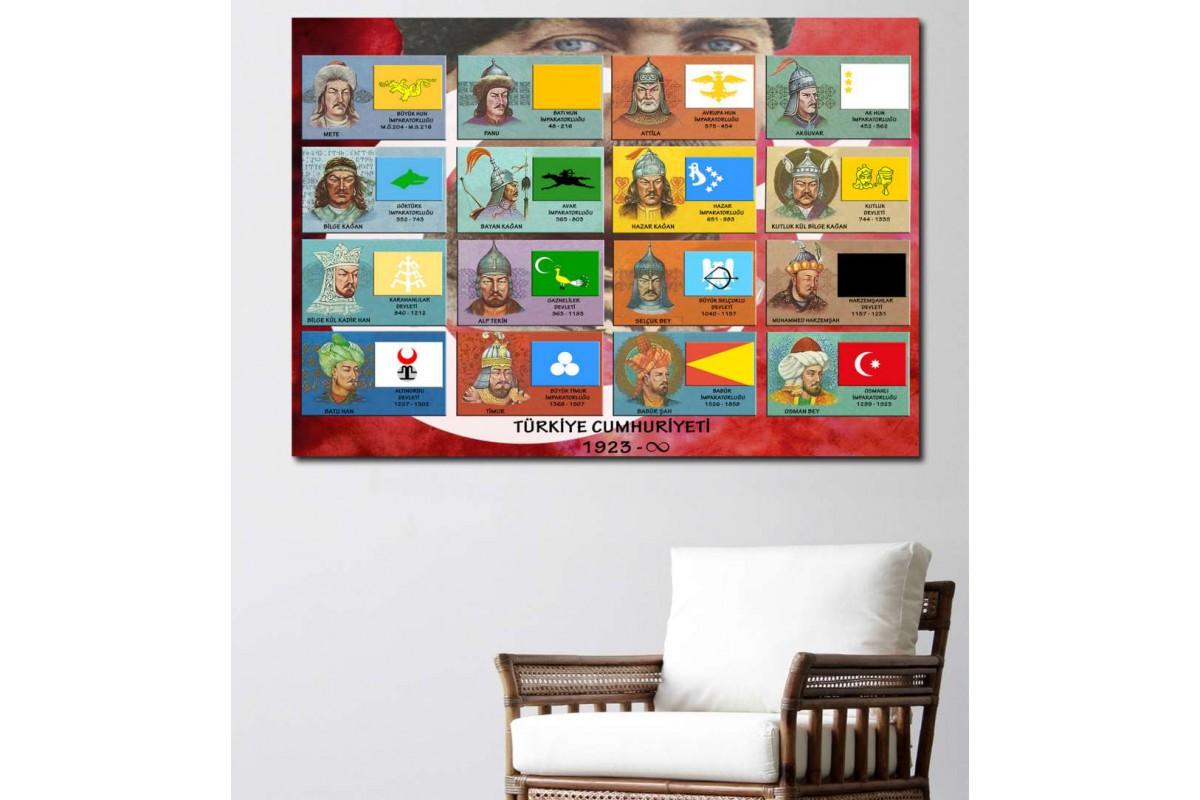 srtr16b - Tarihteki 17 Türk Devleti ve Kurucuları Özel Tasarım Kanvas Tablo