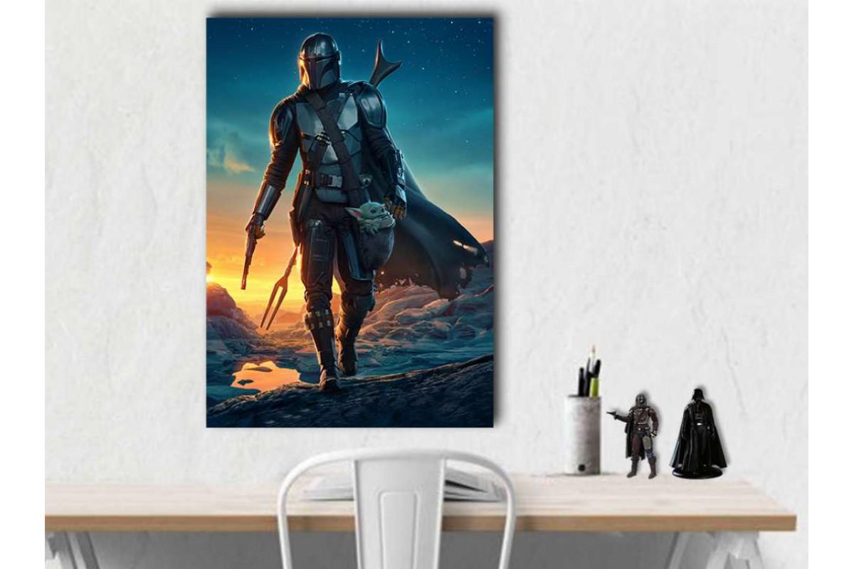 sww33 - Ödül Avcısı Mandalorian ve Baby Yoda Star Wars, Yıldız Savaşları Kanvas Tablo