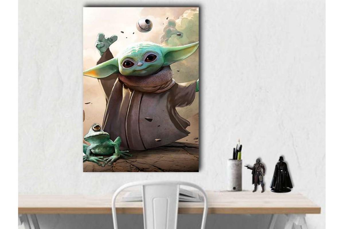 sww34 - Star Wars Bebek Yoda, Baby Yoda Mandalorian Kanvas Tablo