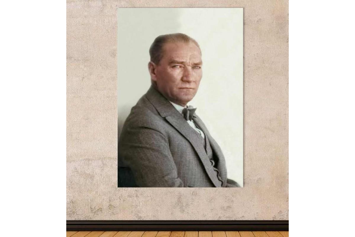 skra36 - Özel Renklendirme Mustafa Kemal Atatürk Kanvas Tablo