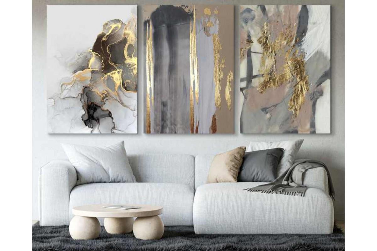srdk53 - Altın Renkli Yağlı Boya Görünümlü Soyut Kolaj üçlü set Kanvas Tablo