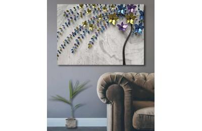 srdk54 - Renkli Çiçekli Soyut Dekoratif Kanvas Tablo