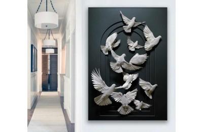 srdk55 - Uçan Beyaz Güvercinler Üç Boyutlu Görünümlü Kanvas Tablo