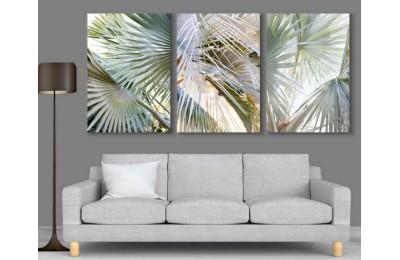 srdk56 - Tropikal Yapraklar Konseptli Dekoratif Kanvas Tablo Seti