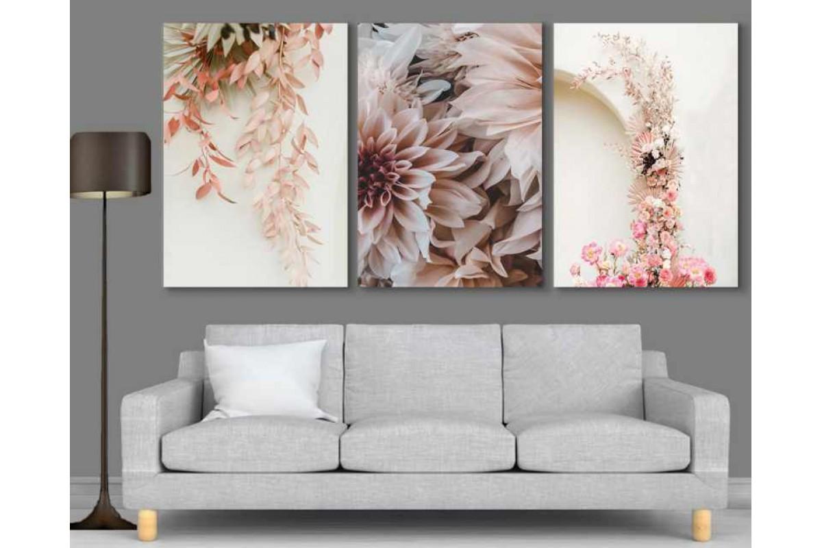 srdk61 - Dekoratif Pembe Çiçekler Kolaj Kanvas Tablo Seti