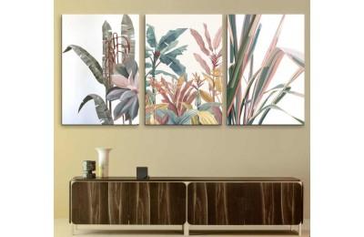 srdk62 - Tropikal Çiçek ve Yapraklar Temalı Soyut Üçlü Kanvas Tablo Seti