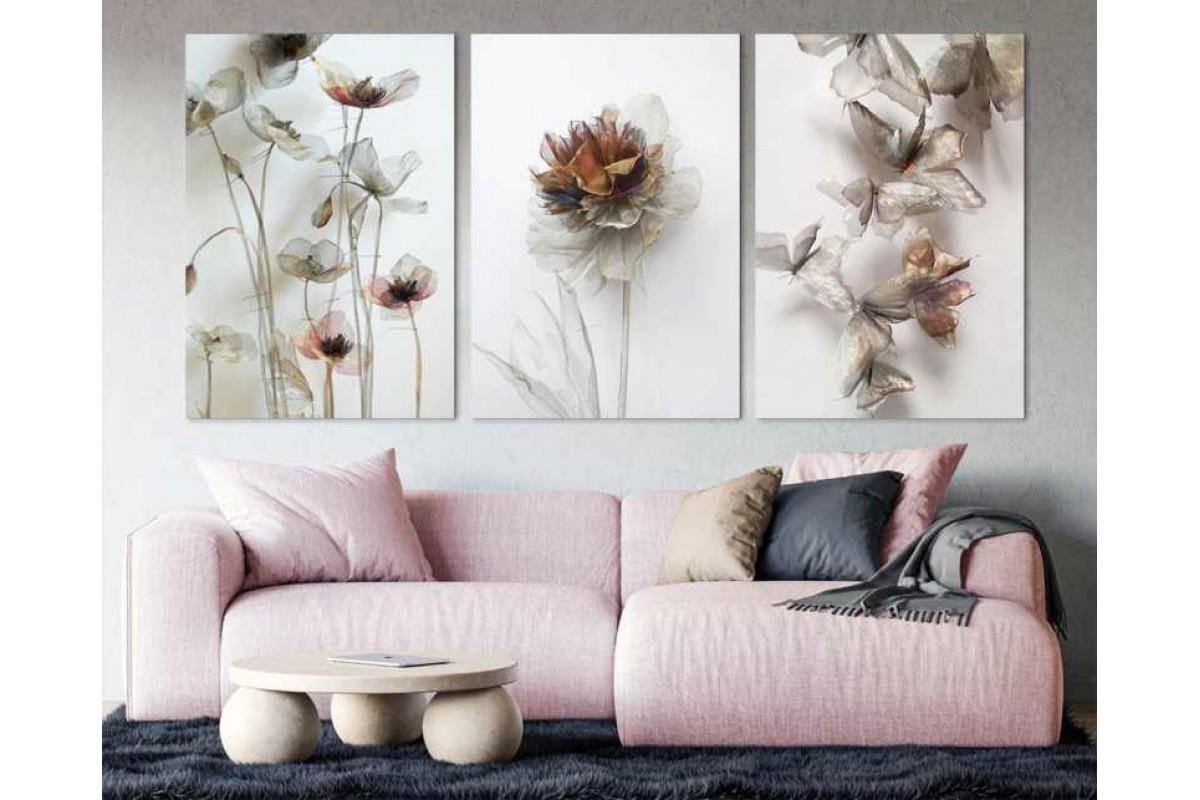 srdk64 - Soyut Çiçekler ve Kelebekler Kolaj Üçlü Set Kanvas Tablo