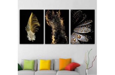srdk71 - Sarı Kuş Tüyü, Altın İzi ve Sarı Çiy Damlaları Konsept Kanvas Tablo