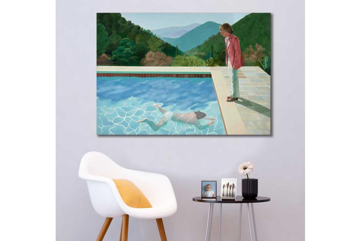 skdh1 - David Hockney - Havuz da İki Figür Modern Sanat Kanvas Tablo