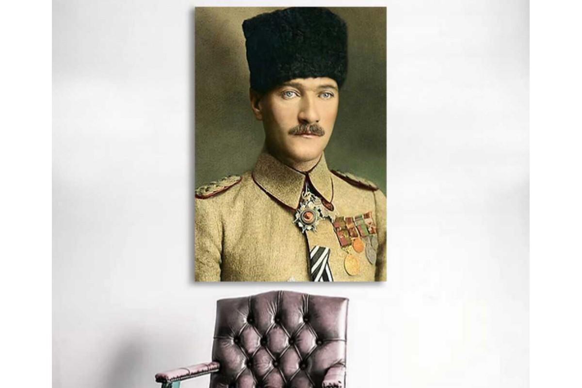 skra45 - Renklendirme Subay Mustafa Kemal Atatürk Kanvas Tablo