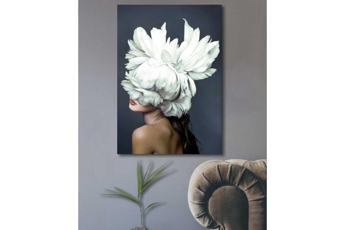 skrd68b - Çiçek Kafalı Kız Dekoratif Kanvas Tablo