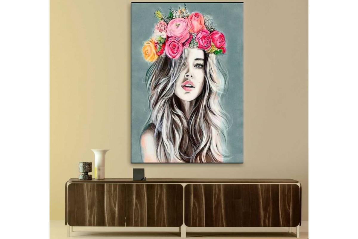 skrd69 - Çiçek Başlı Güzel Kız Dekoratif Kanvas Tablo