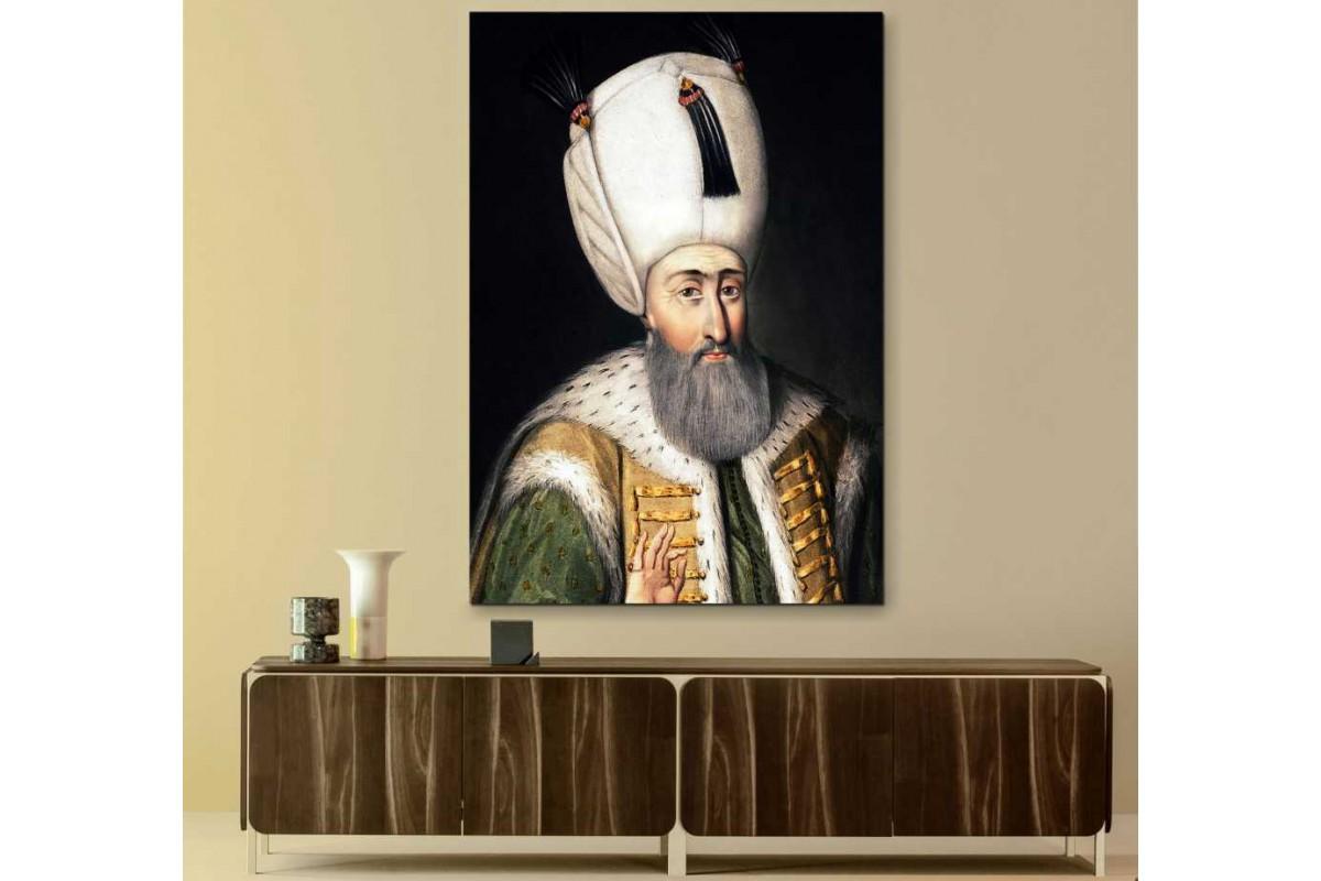 skss2 - Osmanlı Padişahı Kanuni Sultan Süleyman Portresi Kanvas Tablo