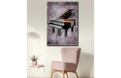 srd29 - Kuyruklu Piyano Yağlı Boya Görünümlü Dekoratif Kanvas Tablo