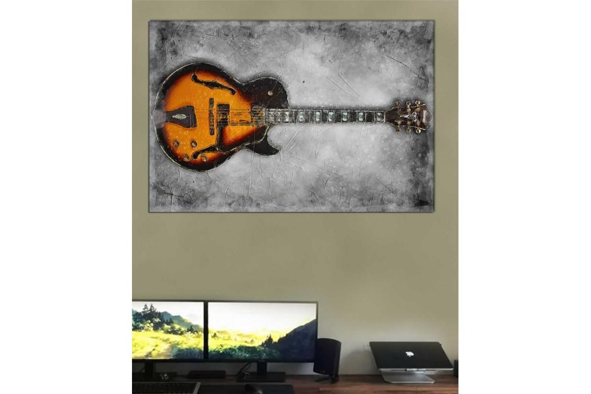 srd31 - Yağlı Boya Görünümlü Müzik Aleti, Gitar Dekoratif Kanvas Tablo