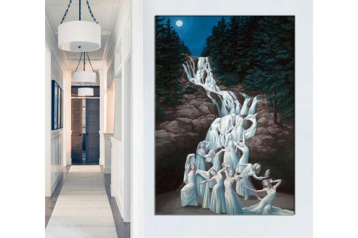 srd33 - Şelaleden Akan Suların Dönüştüğü Dans Eden Kadınlar Sürrealist Kanvas Tablo