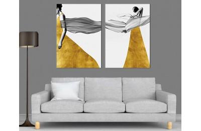 srdk89 - Tül Fularlı ve Sarı Elbiseli Kadınlar Modern Sanat Dekoratif Kanvas Tablo Seti