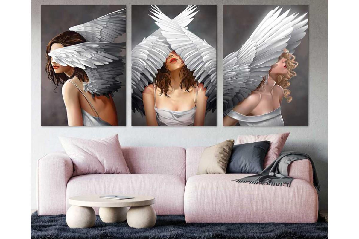 srdk90 - Melek Kanatlı Kızlar Dekoratif Modern Sanat Kanvaas Tablo Seti