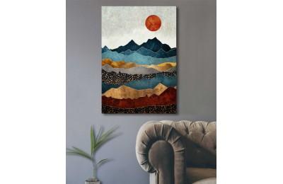 srdk93 - Norveç Tarzı Dağın Katmanları Ve Güneş Temalı Dekoratif Kanvas Tablo