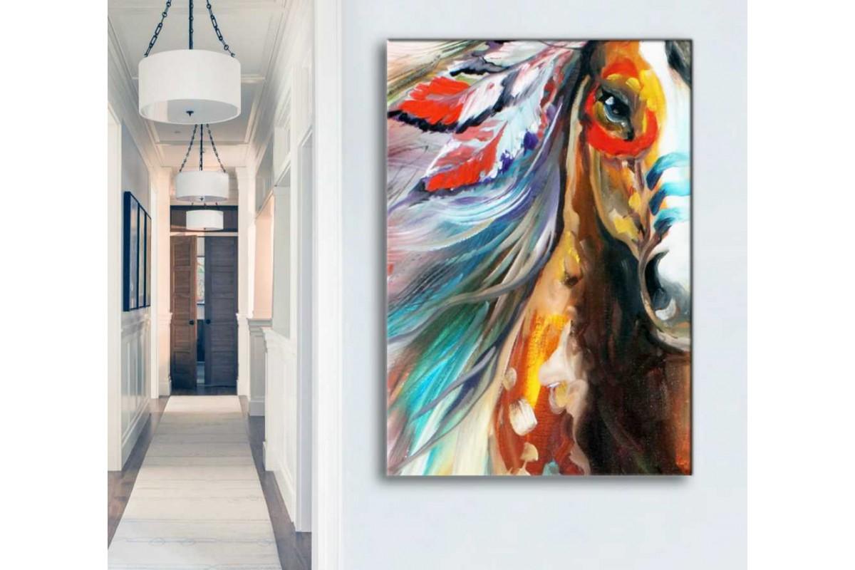srdk94 - Yağlı Boya Görünümlü Soyut Kızılderılı Atı Kanvas Tablo