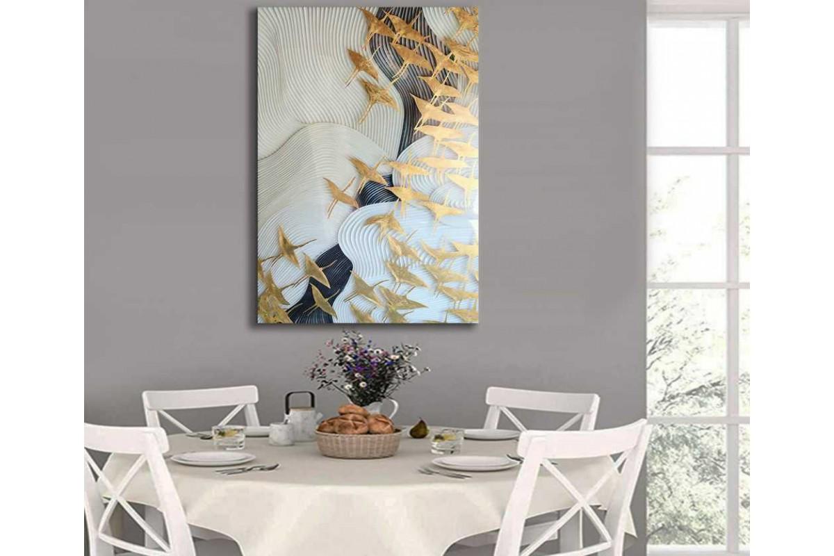 srdk95 - Göçmen Kuşlar Modern Sanat Kanvas Tablo