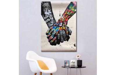 srdk96 - El Ele Tutuşan Sevgililer Grafiti Temalı Dekoratif Kanvas Tablo