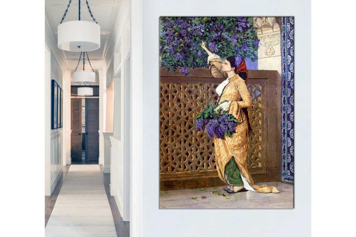 srk09 - Osman Hamdi Bey Leylak Toplayan Kız Kanvas Tablo