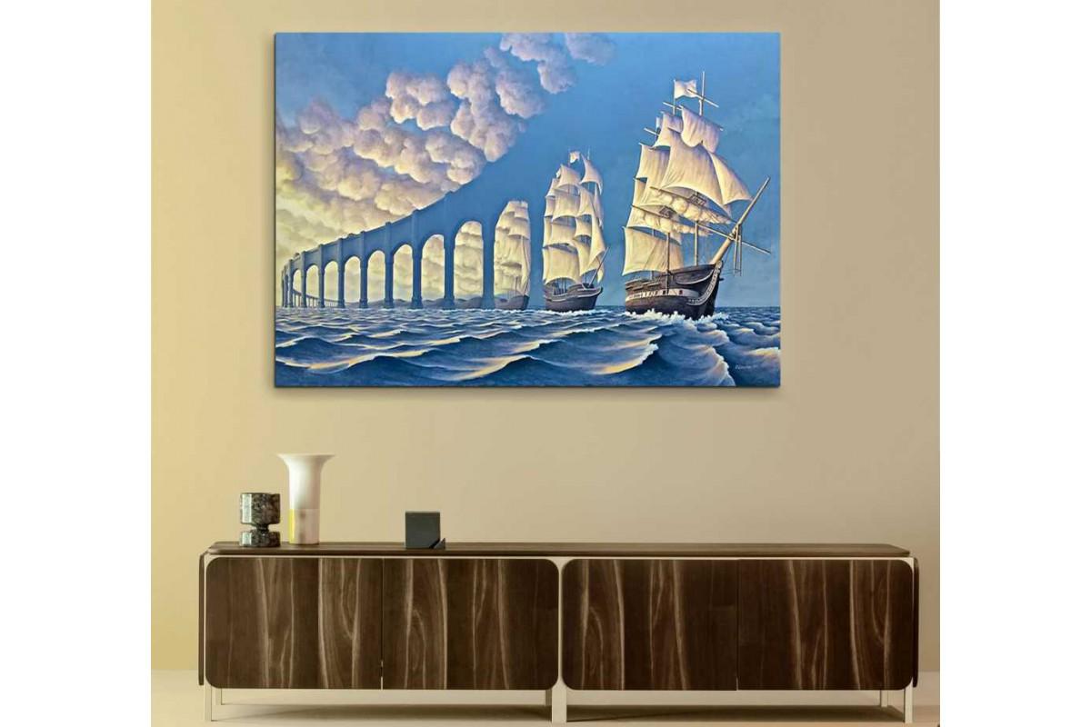 srks77 - Yelkenli Gemilerden Oluşan Köprü Göz Yanıltıcı Sürrealsit Kanvas Tablo