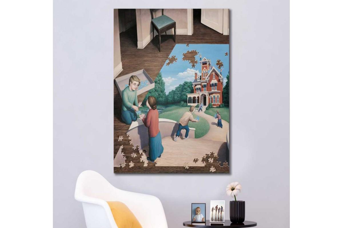 srks82 - Puzzle içinde Puzzle Yapan Çocuklar Sürrealist Kanvas Tablo