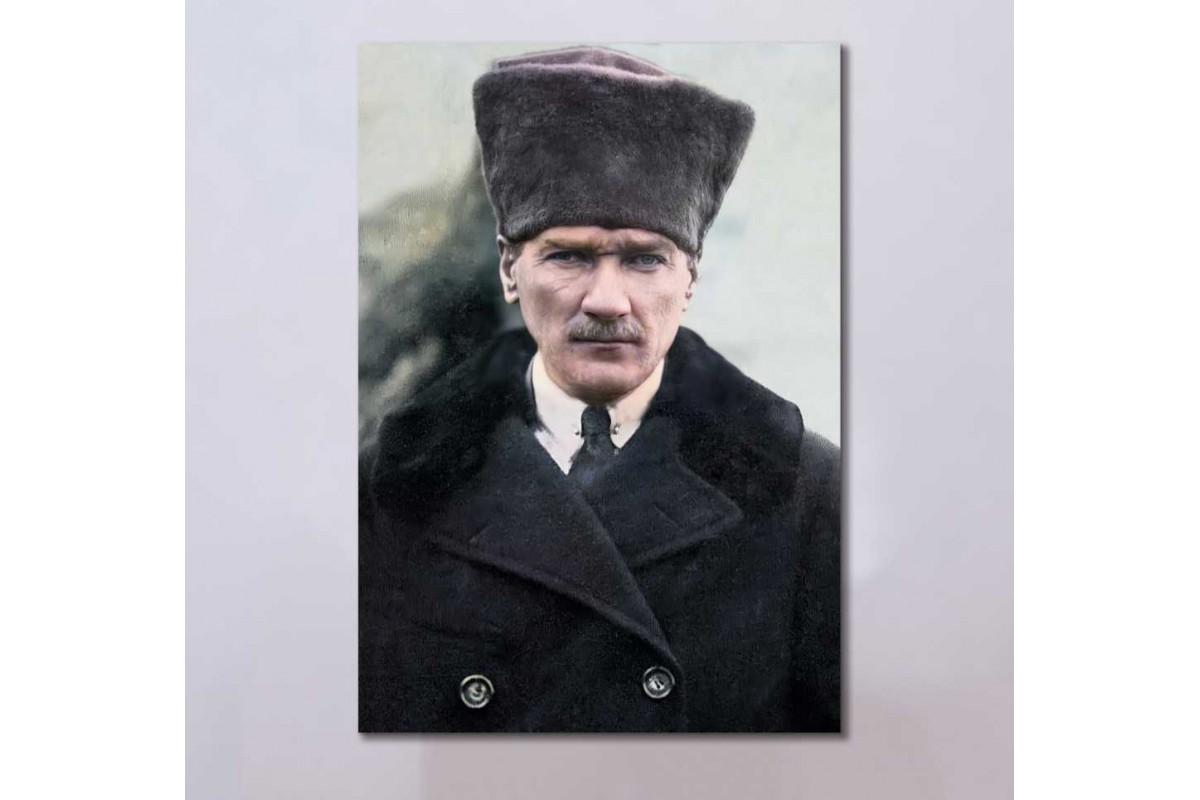skra42 - Özel Renklendirme Kalpaklı Mustafa Kemal Atatürk Kanvas Tablo