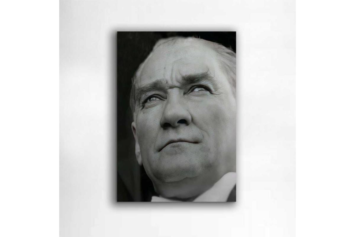 skra43 - Ulu Önder Mustafa Kemal Atatürk Siyah Beyaz Portresi Kanvas Tablo