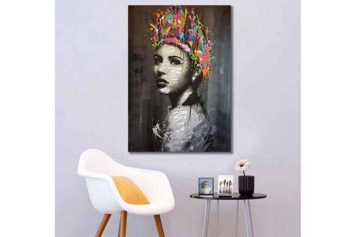 skrd66 - Yağlı Boya Görünümlü Kadın Dekoratif Kanvas Tablo