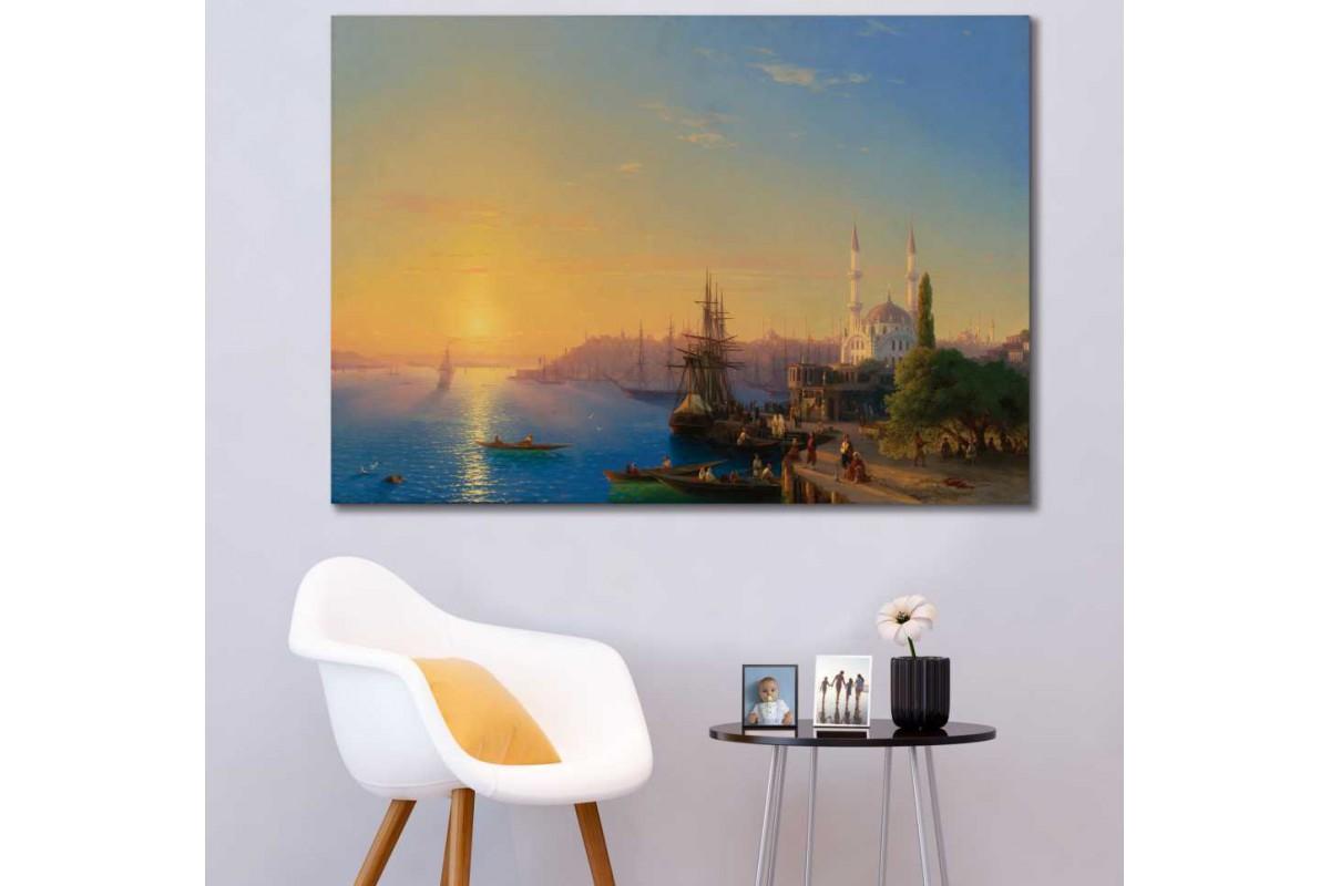 sray2 - Osmanlı Dönemi İstanbul Ortaköy Manzarası Yağlı boya görünümlü kanvas tablo