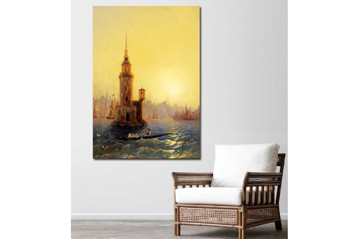 sray3 - Rus Ressam Ayvazovsi 19. Yüzyıl Eski İstanbul Kız Kulesi Yağlı Boya Görünüm Kanvas Tablo