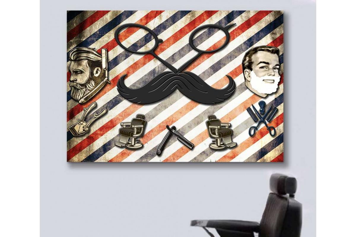 srbb8b - Retro Özel Tasarım Erkek Berberi, Erkek Kuaförü Kanvas Tablo