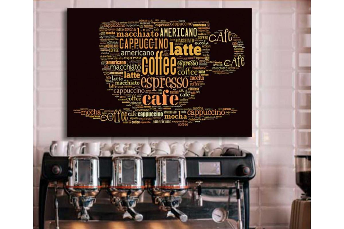 srcy6 - Kahve Dükkanı, Coffee Shop İçin Kahve İsimleri İle Kahve Fincanı Temalı kanvas tablo