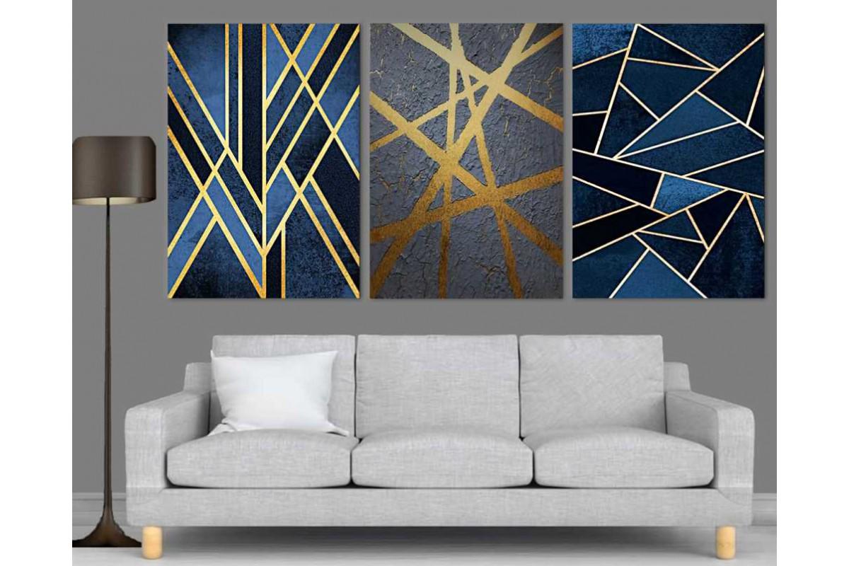 srdk74 - Geometrik Çizgiler Üçlü Dekoratif Soyut Kanvas Tablo Seti