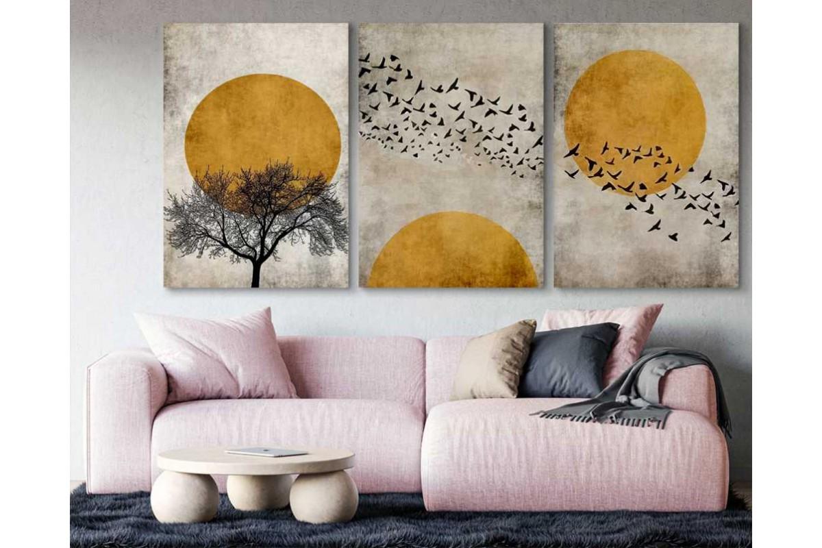 srdk75 - Gün batımı ve Uçan Kuşlar Üçlü set kanvas tablo