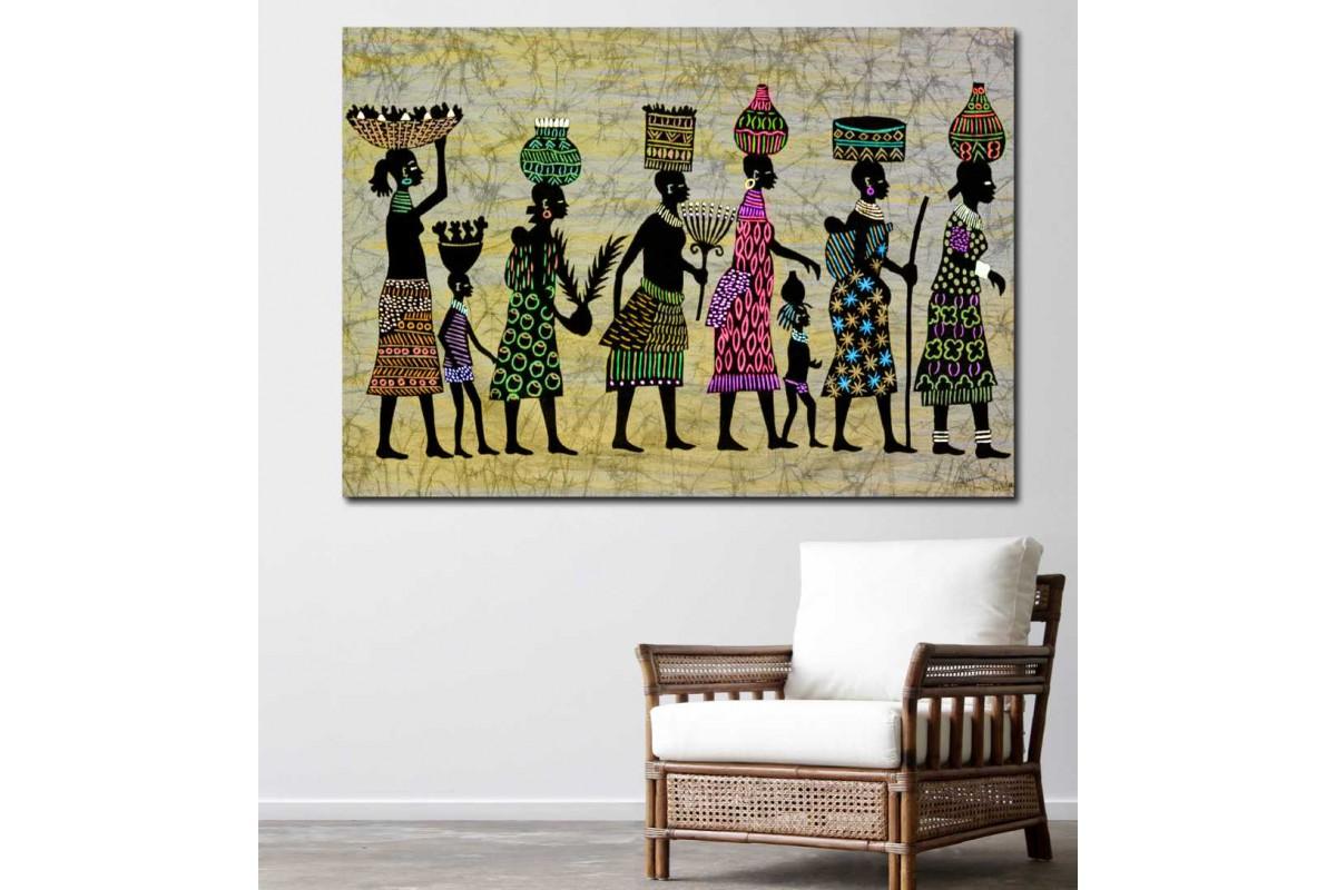 srdk76 - Sepet Taşıyan Afrikalı Kadınlar Dekoratif Kanvas Tablo