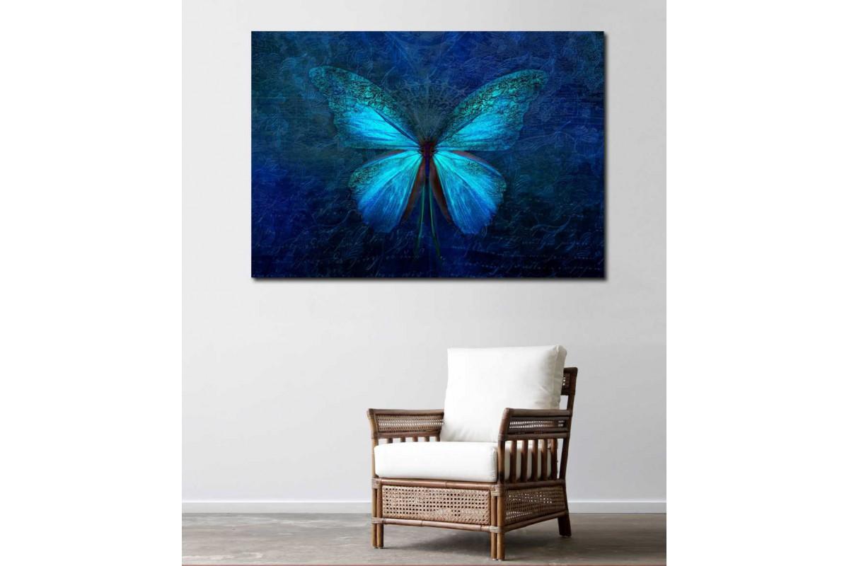 srdk78 - Soyut Mavi Kelebek Dekoratif Kanvas Tablo
