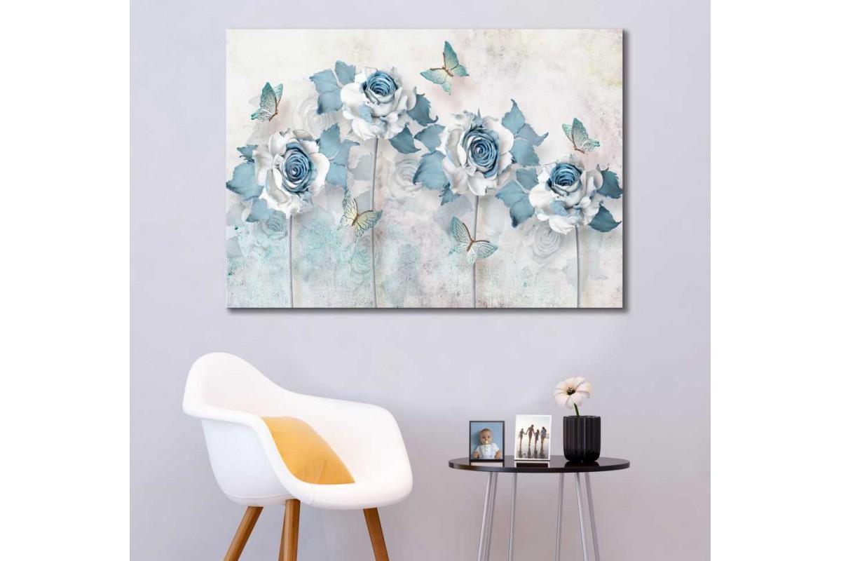 srdk79 - Mavi ve Beyaz Çiçekler ve Kelebekler Dekoratif Kanvas Tablo