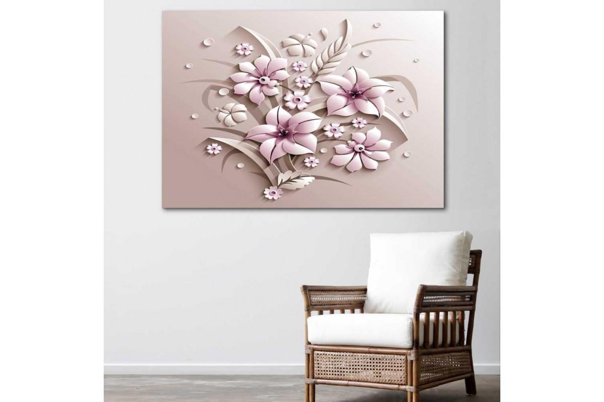 srdk81 - Pembe çiçekler ve Üç Boyutlu Şekiller Dekoratif Kanvas Tablo