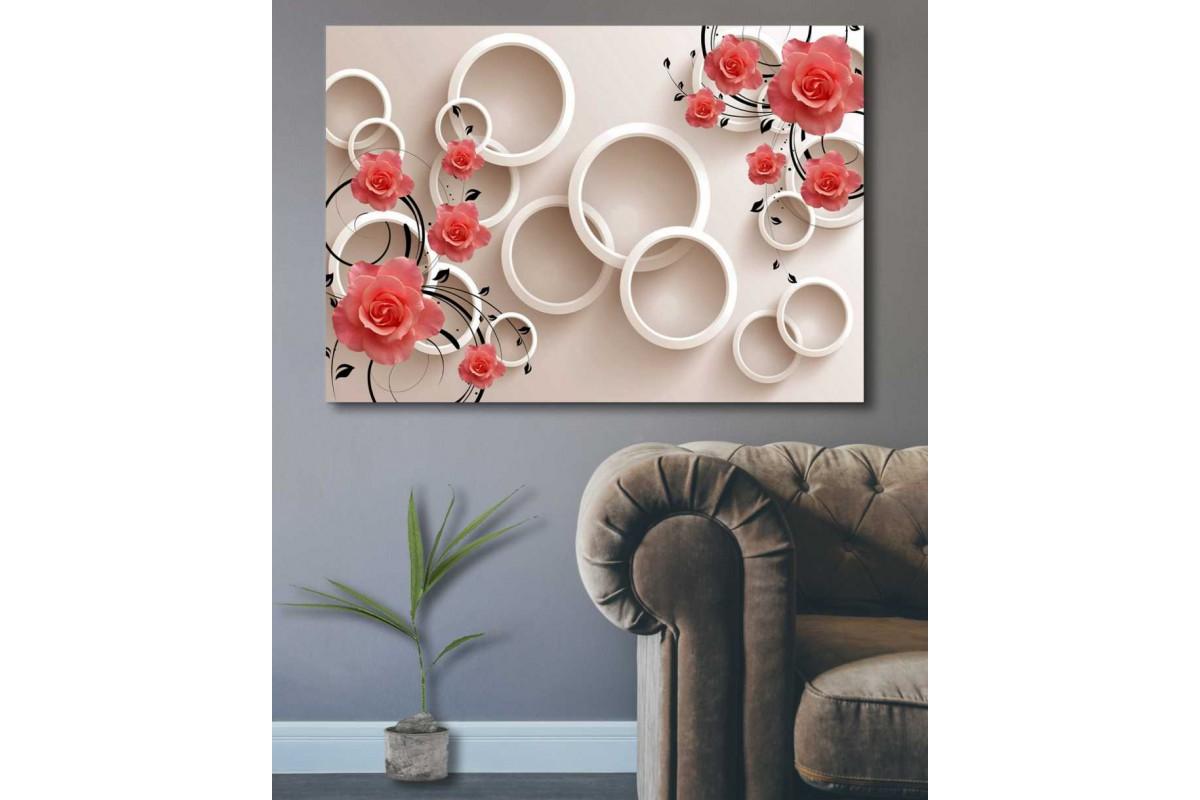 srdk82 - Narçiçeği Rengi Güller ve Çemberler Dekoratif Kanvas Tablo