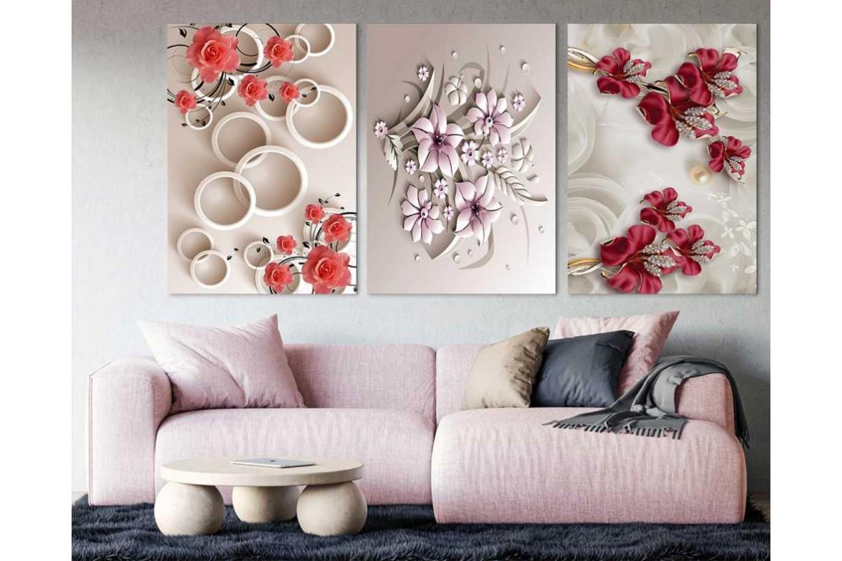 srdk83 - Kırmızı ve Pembe Çiçekler 3'lü Dekoratif Kanvas Tablo Seti