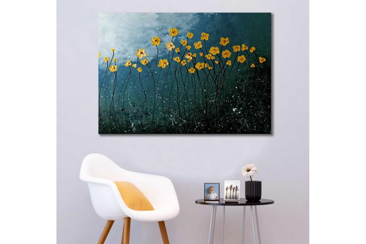 srdk84 - Yağlı Boya Görünümlü Sarı Çiçekler Soyut Kanvas Tablo