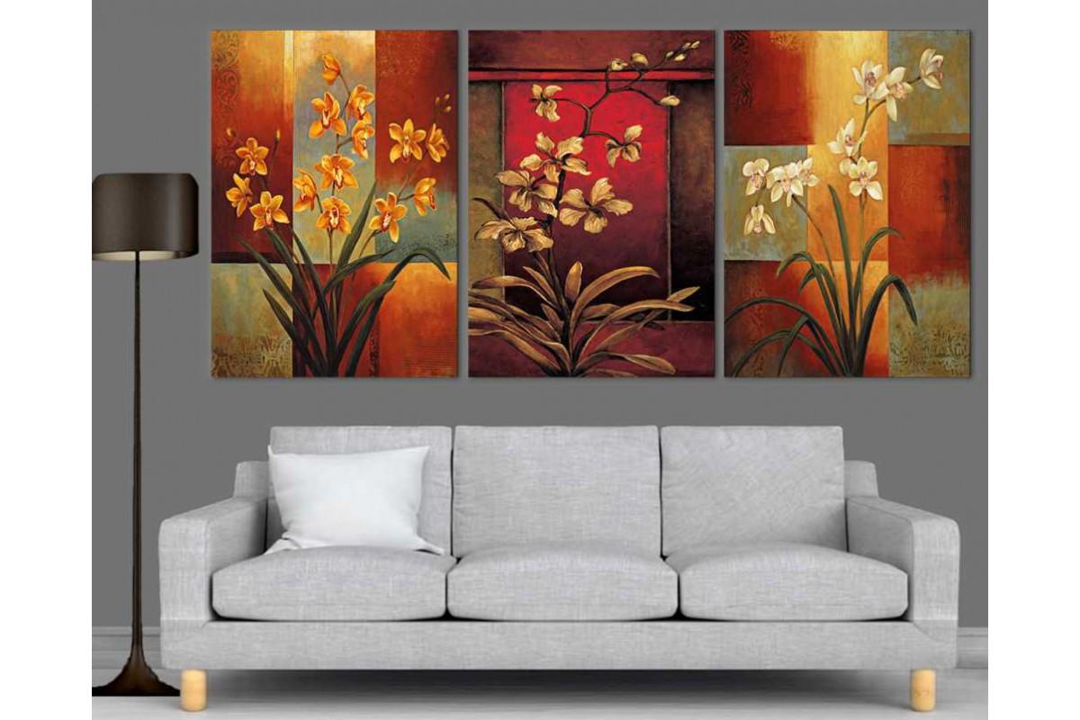 srdk88 - Yağlı Boya Görünümlü Çiçekler Modern Sanat Kanvas Tablo